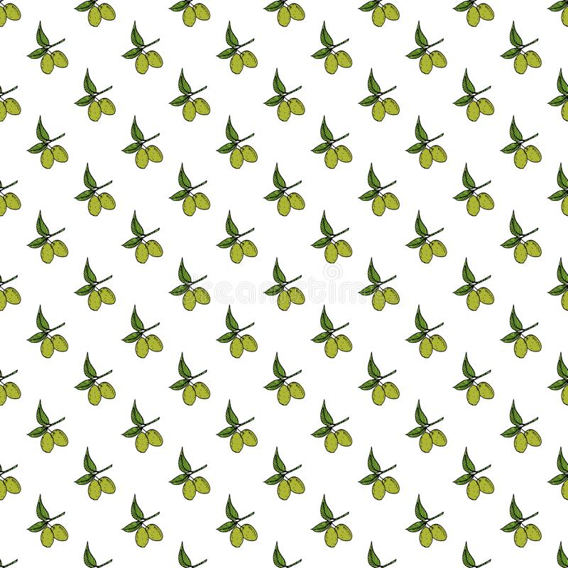 Olive branch seamless pattern. Natural background Design with olives for olive oil or cosmetics products, vector illustration.  stock illustration