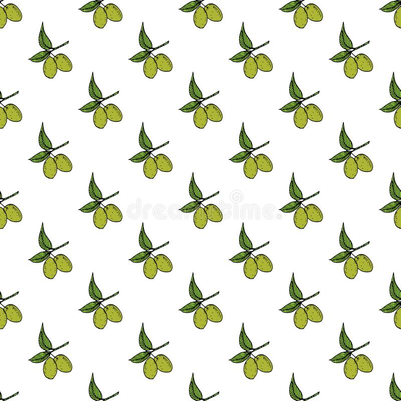 Olive branch seamless pattern. Natural background Design with olives for olive oil or cosmetics products, vector illustration stock illustration