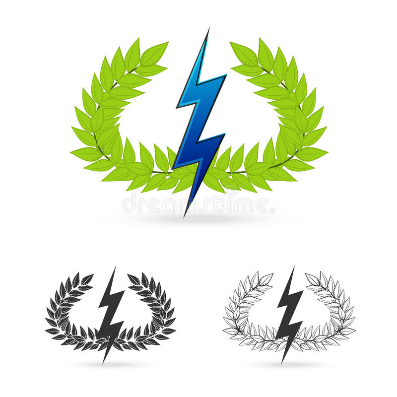 Olive Branch With Thunder Symbol Of Greek God Zeus Stock Vector