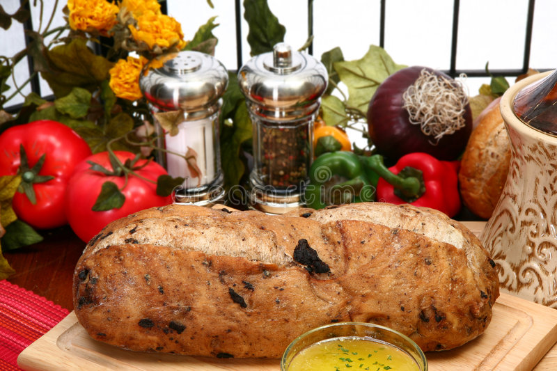 Olive Bread Loaf in Kitchen royalty free stock images