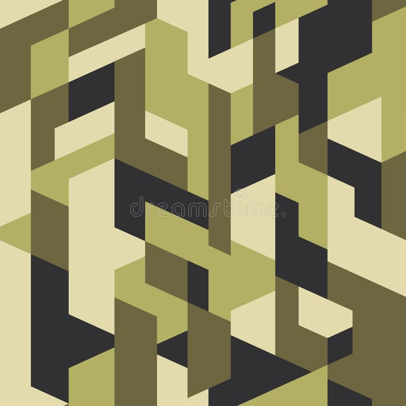 Olive camouflage pattern background seamless vector.  Camo with isometric geometric shapes royalty free illustration