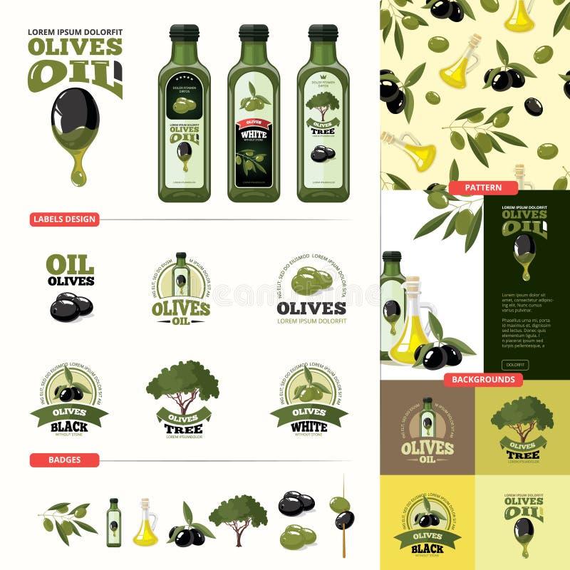 Olive Cartoon Set svarta gröna olivgrön royaltyfri illustrationer