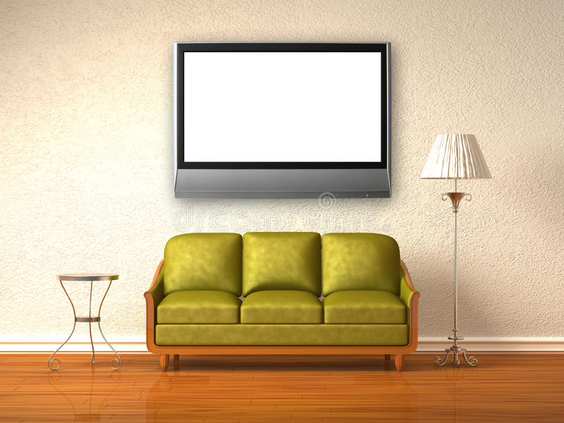 Olive couch, table and stand lamp with LCD tv. In white minimalist interior royalty free illustration
