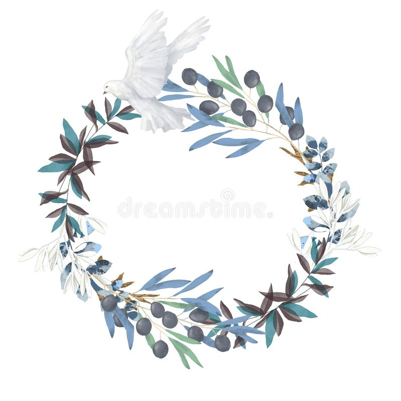 Olive and dove floral illustration - olive branch frame / wreath for wedding stationary, greetings, wallpapers, fashion. Watercolor olive floral illustration royalty free illustration