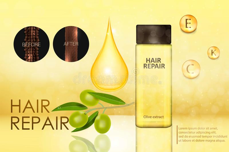 Olive essence for hair care vector illustration