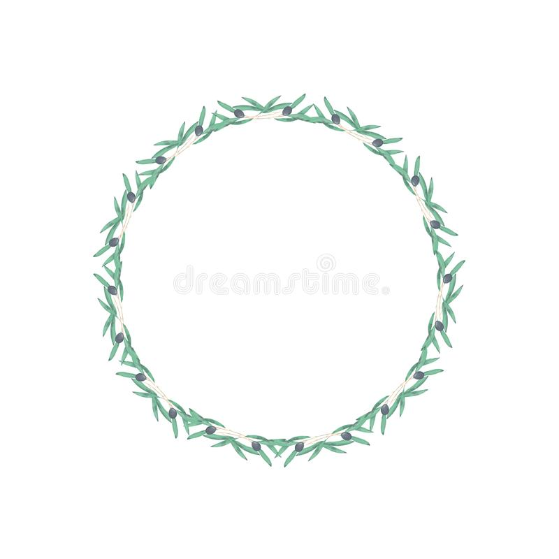 Olive floral illustration - olive branch frame wreath for wedding stationary, greetings, wallpapers, fashion. Watercolor olive floral illustration - olive branch vector illustration