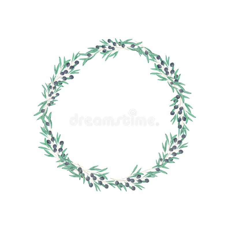 Olive floral illustration - olive branch frame wreath for wedding stationary, greetings, wallpapers, fashion. Watercolor olive floral illustration - olive branch stock illustration