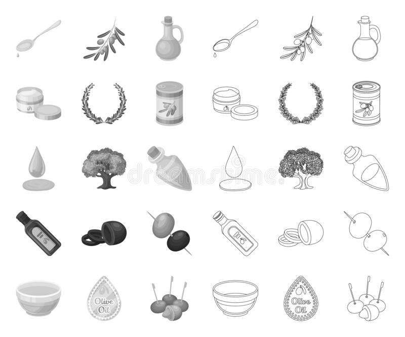 Olive, food mono,outline icons in set collection for design. Olive oil, seasoning vector symbol stock web illustration. Olive, food mono,outline icons in set royalty free illustration