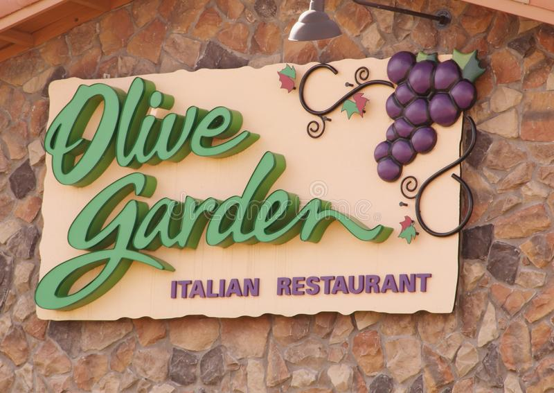 Sign of the Olive Garden Italian Restaurant stock image