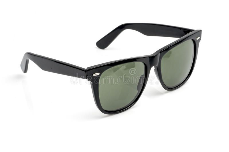 Olive green black sunglasses isolated on white. stock photos