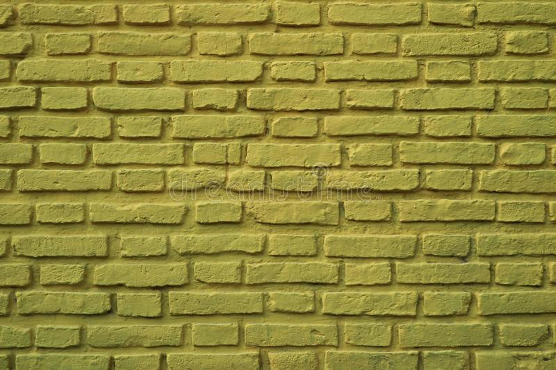 Olive Green Colored Rough Brick Wall at La Boca Neighborhood in Buenos Aires of Argentina. For Background or Banner royalty free stock photography