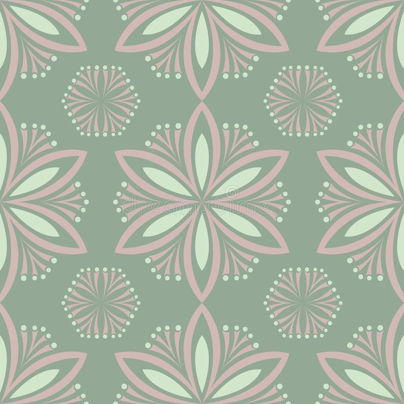 Olive green floral seamless pattern. Background with flower designs stock illustration