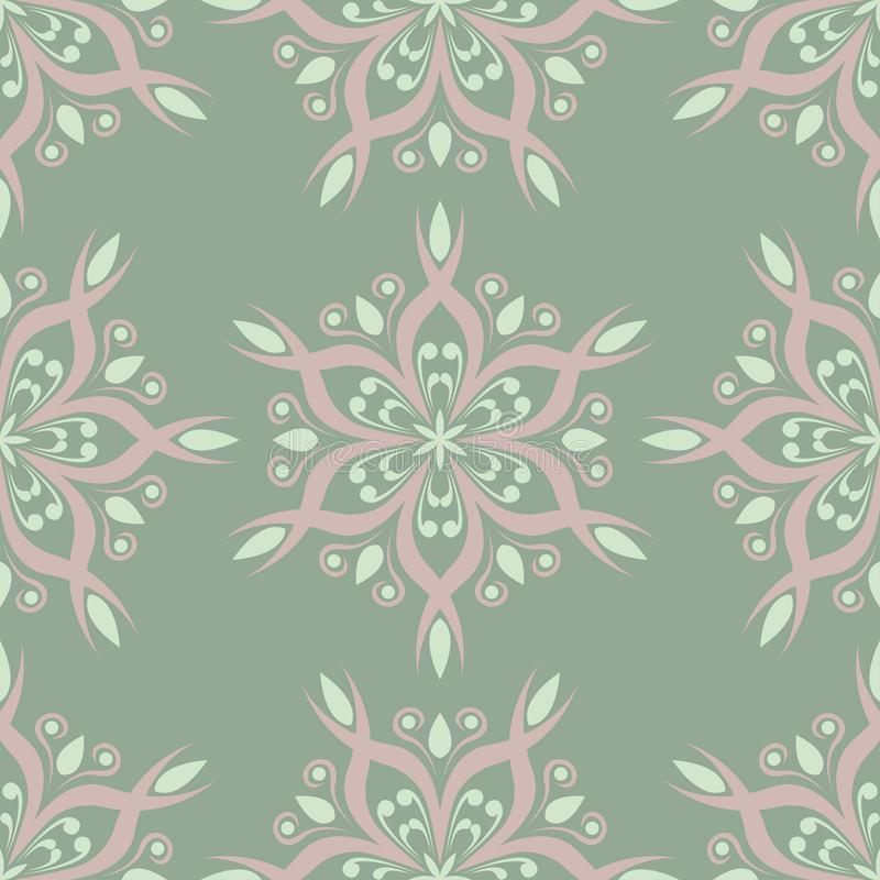 Olive green floral seamless pattern with pale pink elements. Background with flower designs stock illustration