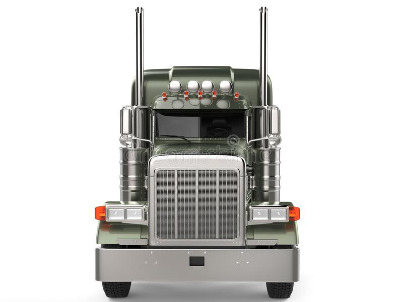 Olive green metallic big long haul truck - front view. Isolated on white background royalty free illustration
