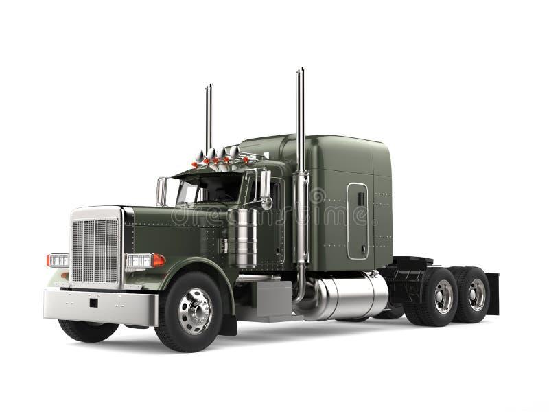Olive green metallic big long haul truck. Isolated on white background stock illustration