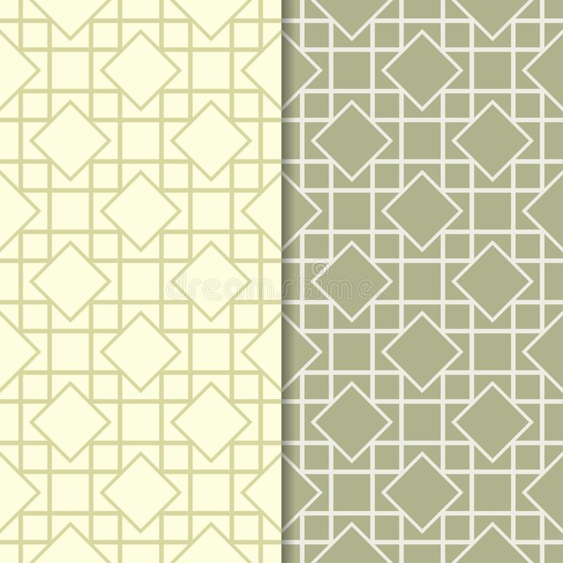 Olive green set of seamless geometric patterns vector illustration