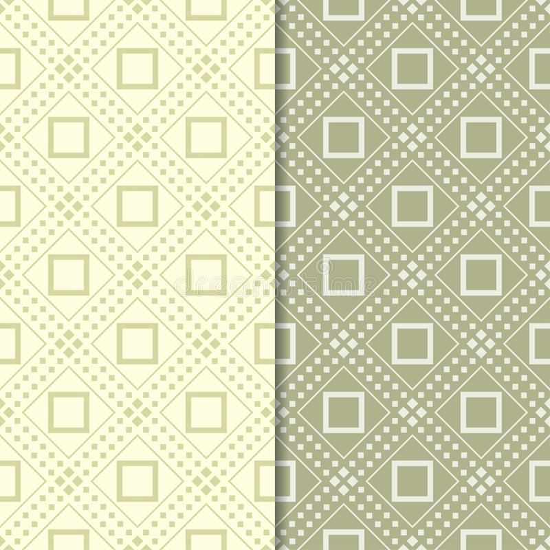 Olive green set of seamless geometric patterns stock illustration