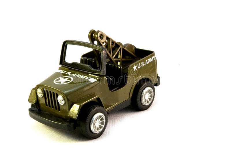 Olive green toy US Army jeep. stock photography