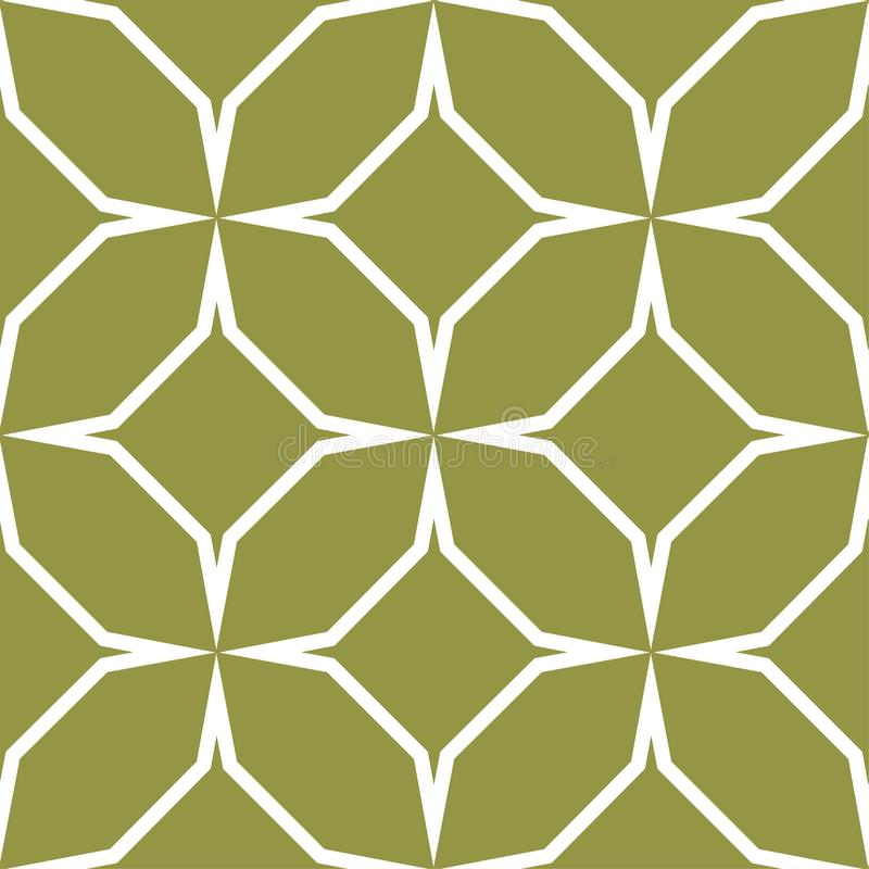 Olive green and white geometric ornament. Seamless pattern royalty free illustration