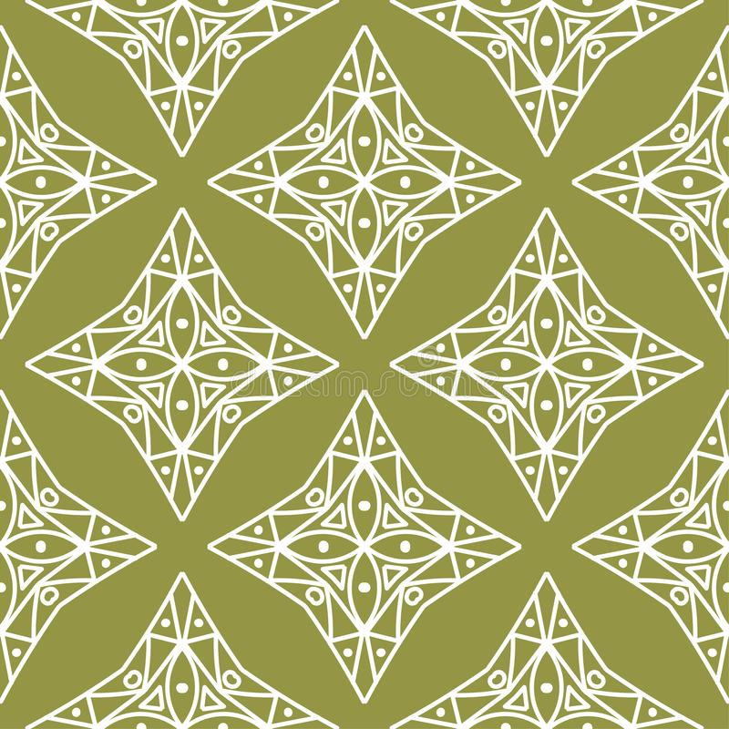 Olive green and white geometric ornament. Seamless pattern stock illustration