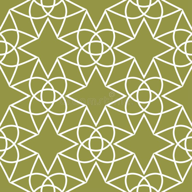 Olive green and white geometric ornament. Seamless pattern vector illustration