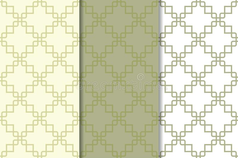 Olive green and white geometric ornaments. Set of seamless patterns vector illustration