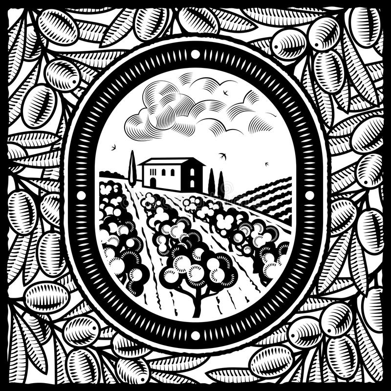 Olive grove black and white. Retro olive grove in woodcut style. Black and white illustration with clipping mask royalty free illustration