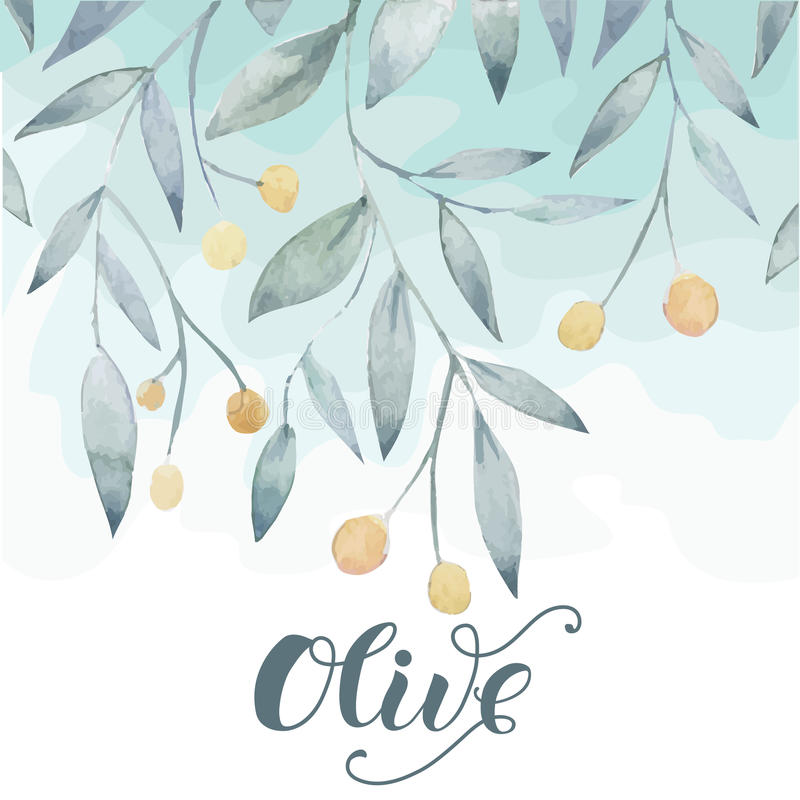 Olive hand drawn background. With modern lettering royalty free illustration