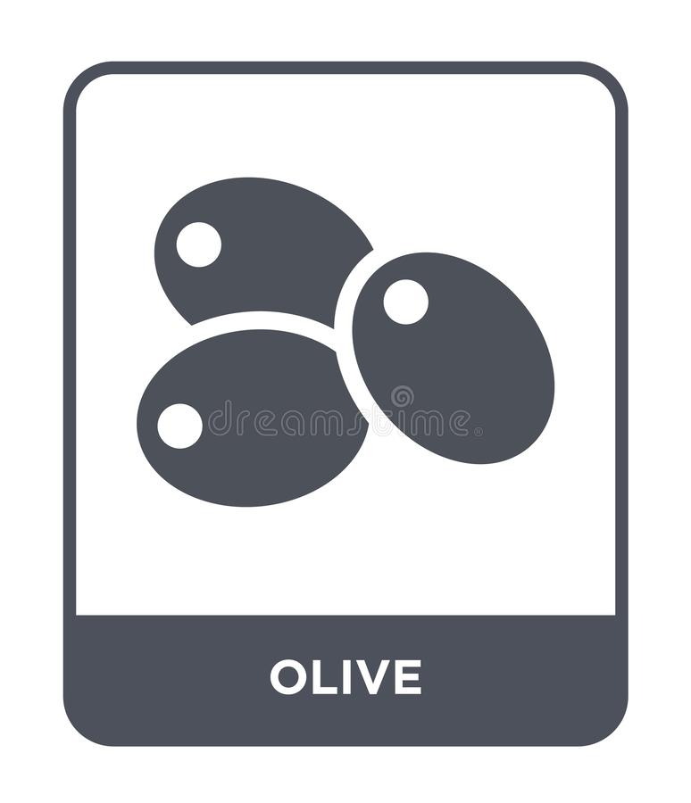 Olive icon in trendy design style. olive icon isolated on white background. olive vector icon simple and modern flat symbol for. Web site, mobile, logo, app, UI stock illustration