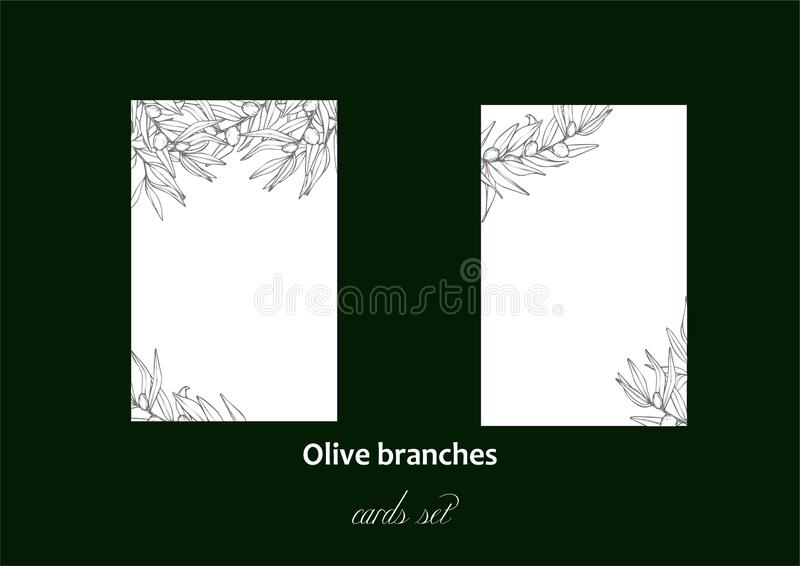 Olive laurel branches cards set. Vector illustration. royalty free stock photography