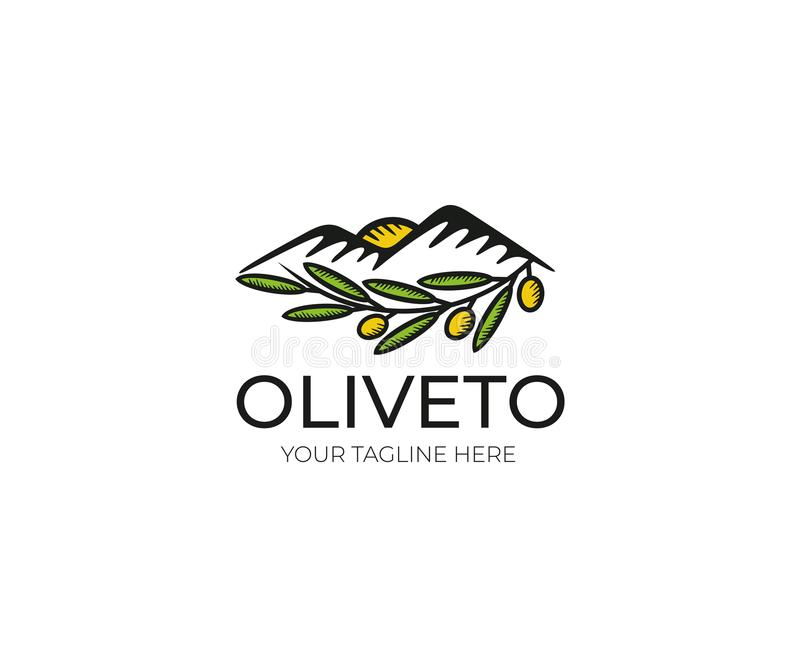 Olive Logo Template. Olive Grove Vector Design. Nature, Leaf, Mountains Illustration stock illustration