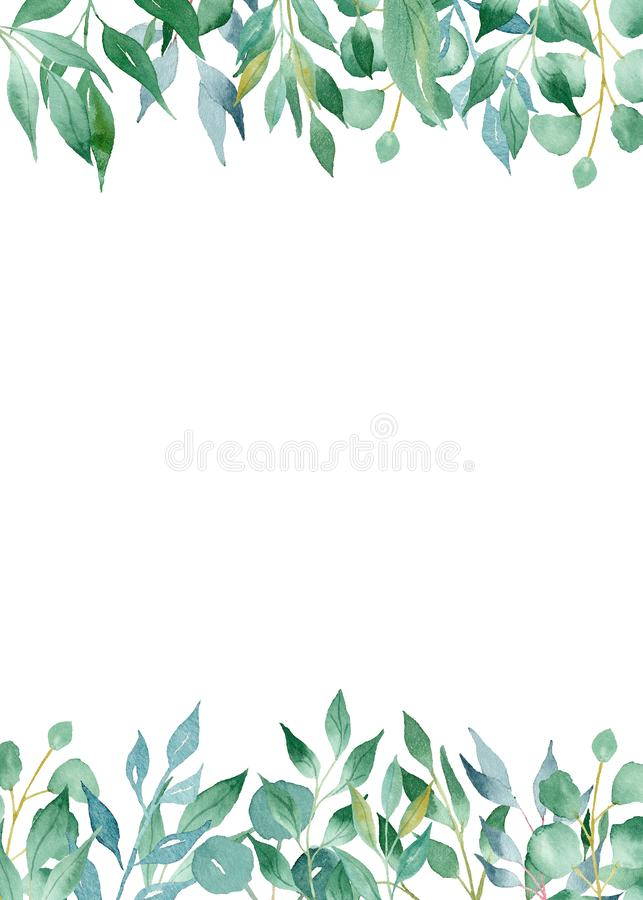 Olive, Lorbeerzweigaquarellhandgezogene Raster-Rahmenschablone lizenzfreie abbildung