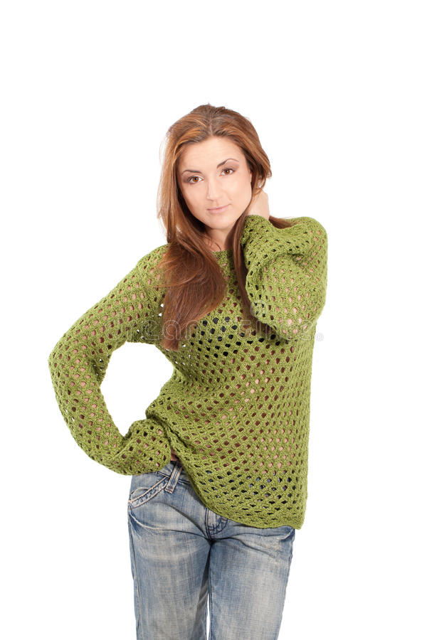 Olive mesh. Young girl in an olive-color meshed sweater royalty free stock photos