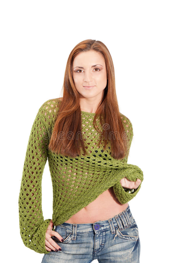 Olive mesh. Young girl in an olive-color meshed sweater royalty free stock photo