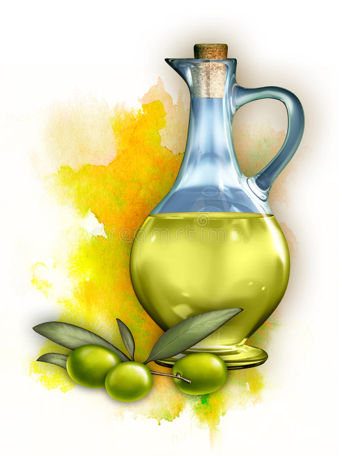 Olive oil. In a glass container and some olives. Digital illustration, clipping path included