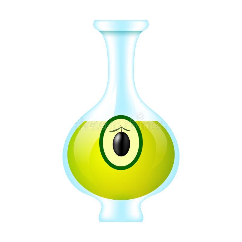 Olive Oil amarela natural com garrafa de vidro Etiqueta do óleo de Virgin e projeto de pacote extra ilustração royalty free