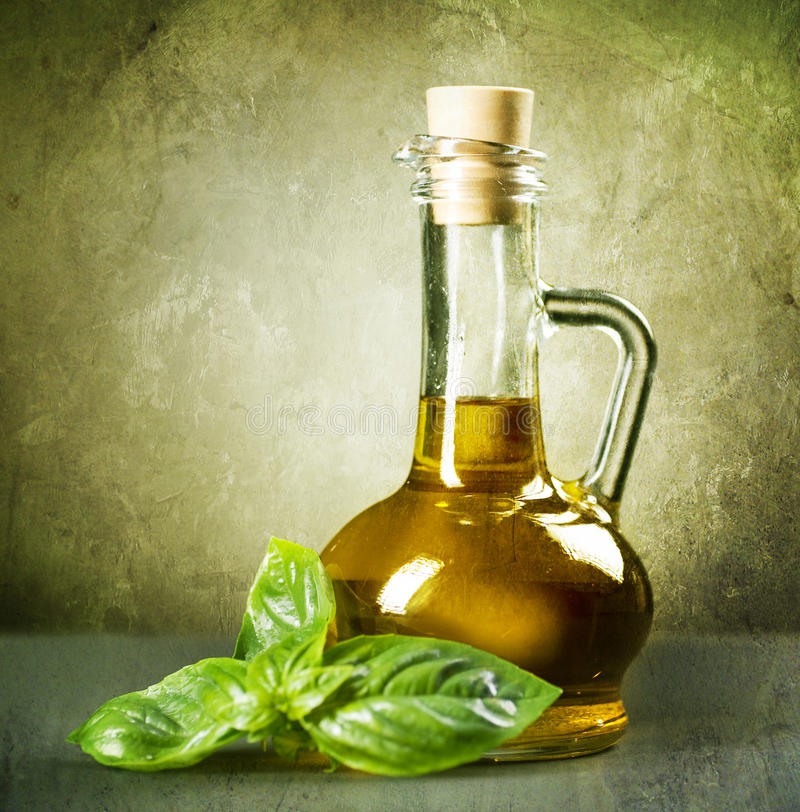 Olive Oil and basil royalty free stock image