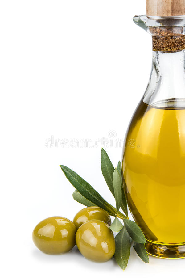 Olive oil bottle isolated on a white background. royalty free stock photo