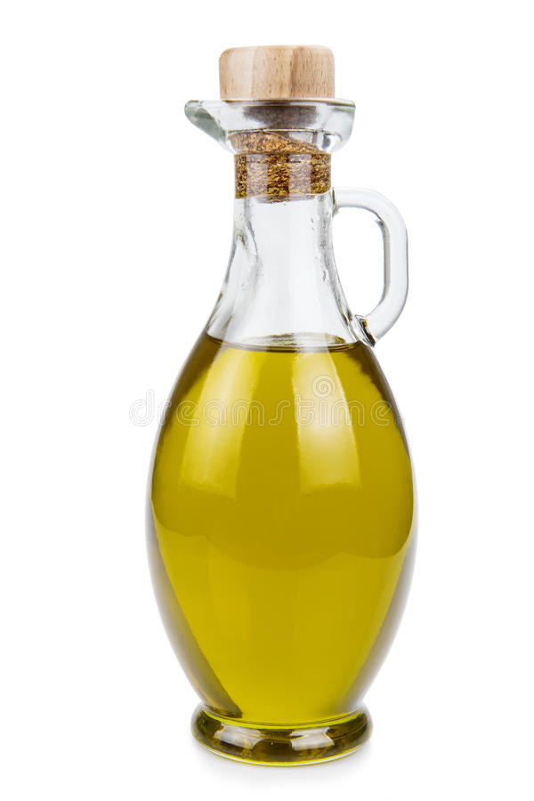 Olive oil bottle isolated on a white background. royalty free stock images