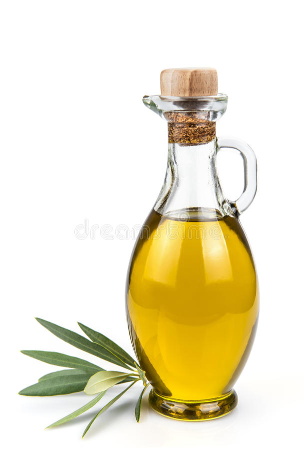 Olive oil bottle isolated on a white background. royalty free stock photos