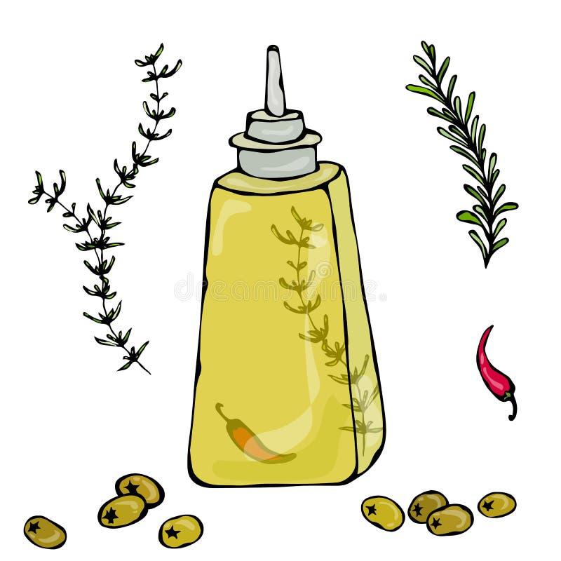 Olive Oil Bottle met Kruiden, Thyme, Rosemary, Spaanse peper, Peper, en Metaalautomaat Vectordieillustratie op a wordt geïsoleerd vector illustratie