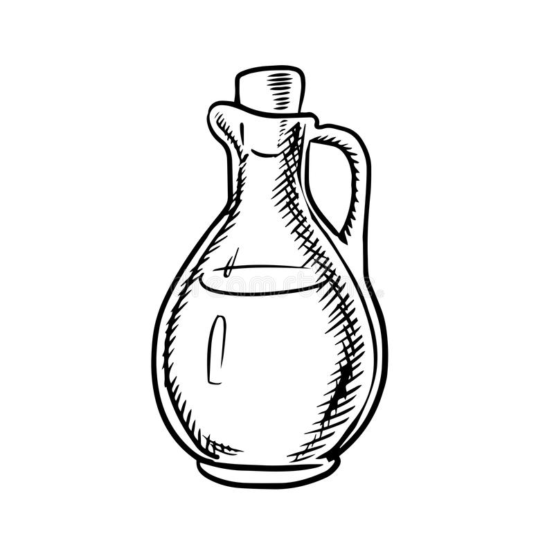 Olive Oil Bottle Sketch With Handle And Cork Stock Vector - Illustration Of Extra Natural 59055115