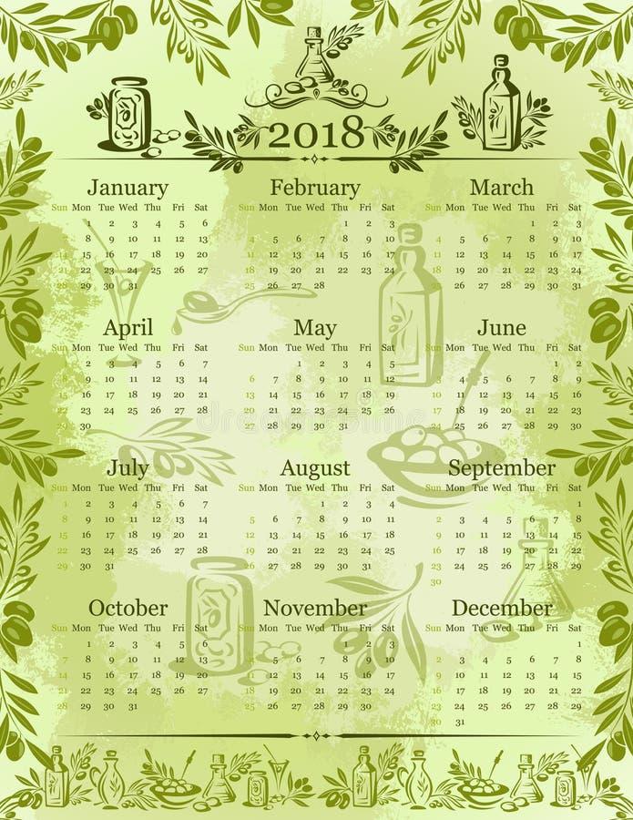 Vector Olives Olive Oil Calendar 2018 Template Stock Vector