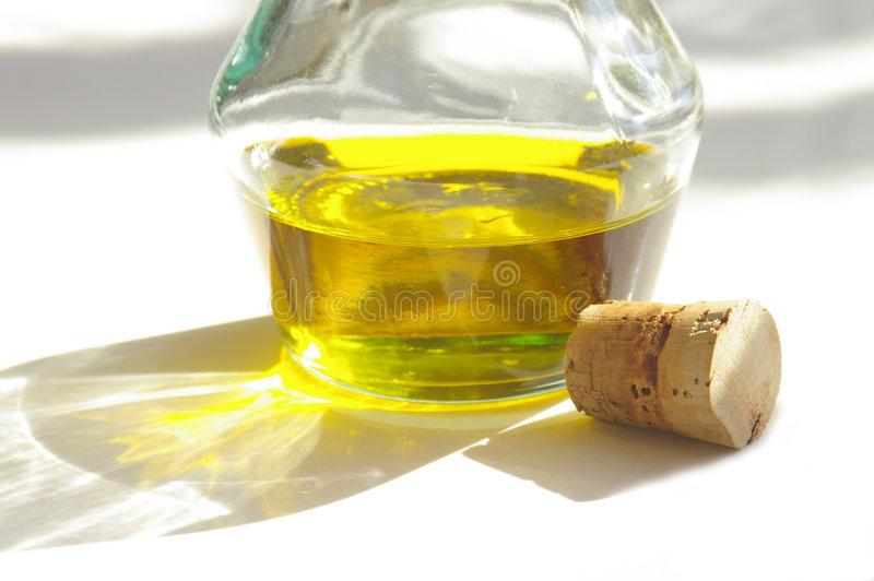 Olive oil and cork stock photo