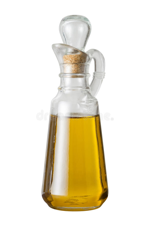 Olive Oil Cruet (with clipping path). Isolated on a white background. Isolation is on a transparent layer in the PNG format royalty free stock photo