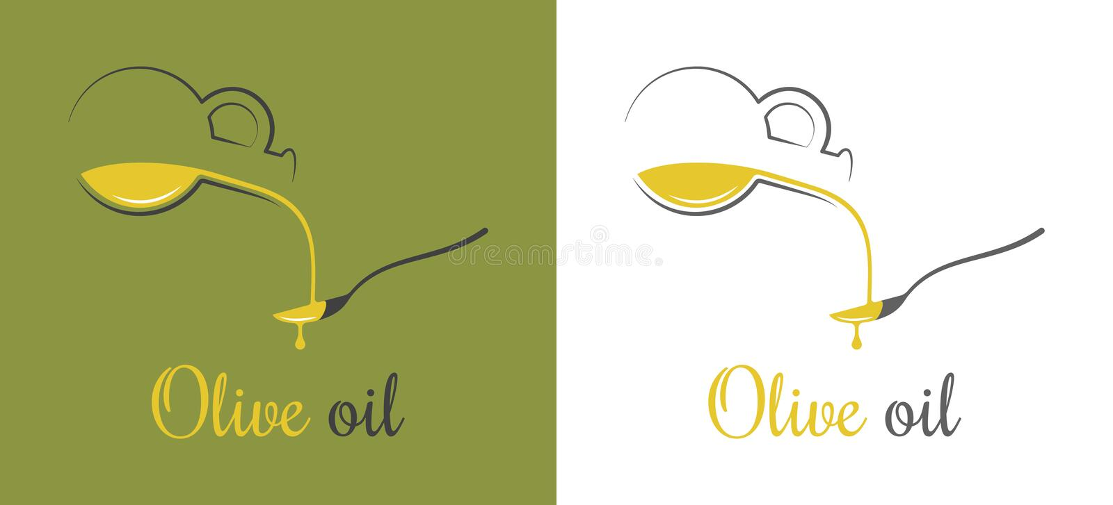 Olive oil drop. Pouring oil on spoon design background. 8 eps royalty free illustration