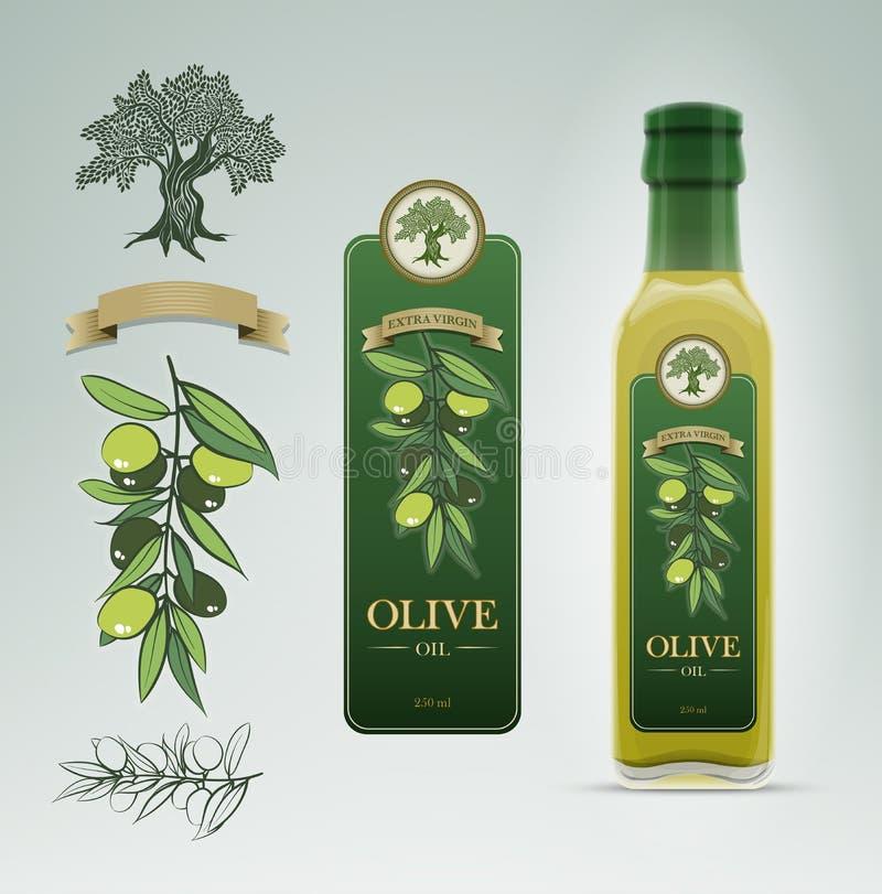 Olive Oil-Flasche und Aufkleberdesignschablone lizenzfreie abbildung