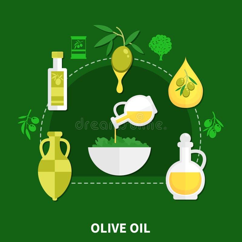 Olive Oil Flat Composition illustration de vecteur