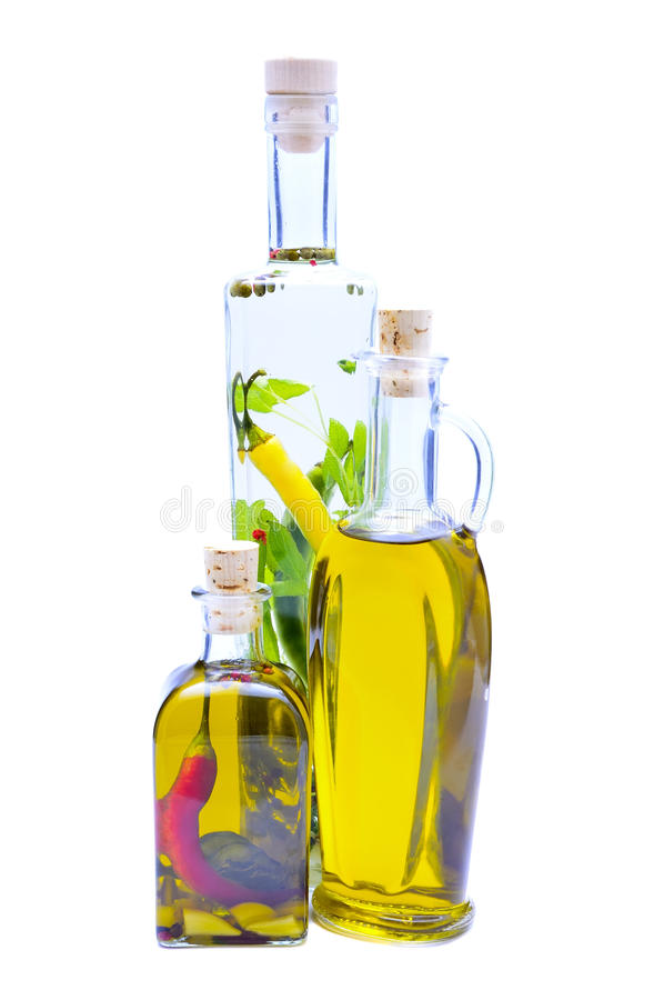 Olive oil and herbs royalty free stock images
