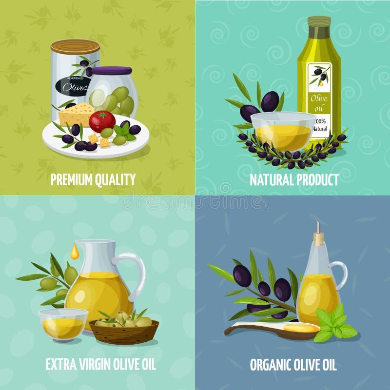 Olive Oil 4 iconos de la historieta ilustración del vector